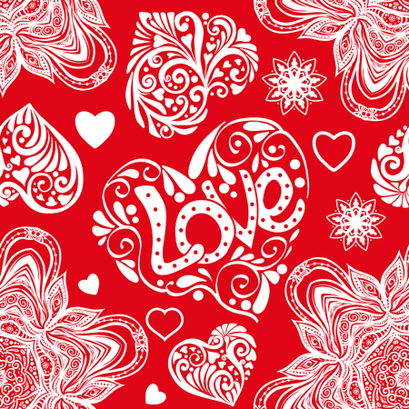 Love heart and mandalas seamless pattern in white and red colors Ilustrace