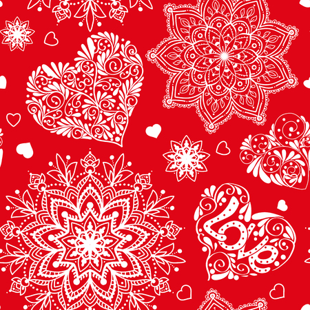 Love heart and mandalas seamless pattern in white and red colors Ilustração