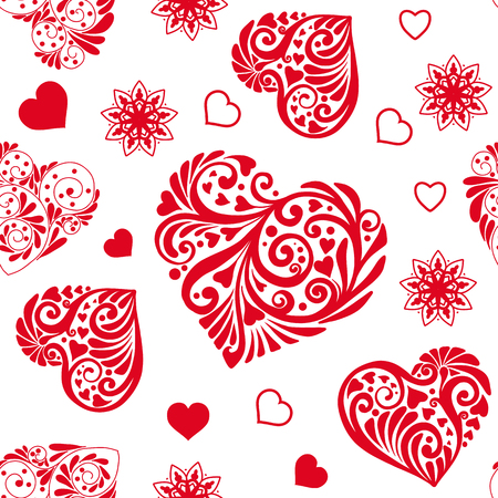 Love heart seamless pattern in white and red colors for Valentine