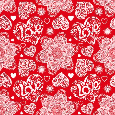 Liefdehart en mandalas naadloos patroon in witte en rode kleuren