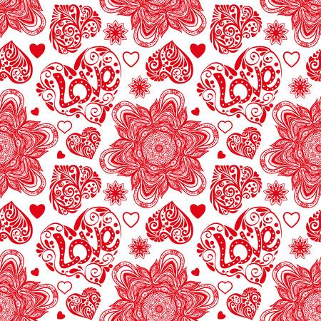 白と赤の色で愛心とマンダラのシームレス パターン  イラスト・ベクター素材