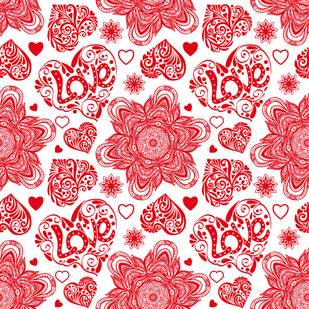 Love heart and mandalas seamless pattern in white and red colors Illustration