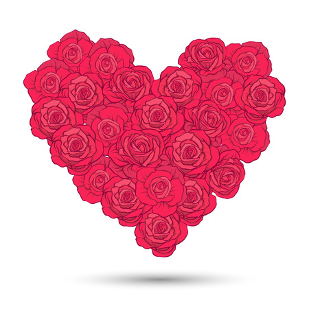 Love heart made of rose bouquet for Valentines Day or wedding.
