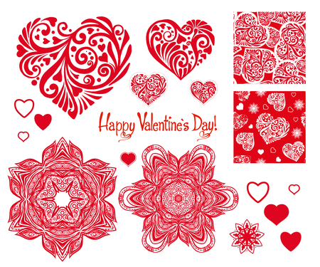 set of Love heart with pattern, mandalas and seamless patterns f
