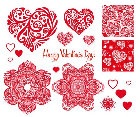 set of Love heart with pattern, mandalas and seamless patterns f 免版税图像 - 87717770