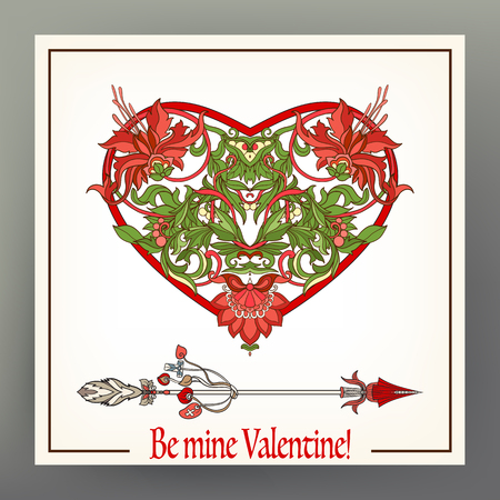 Abstract floral love heart with pattern in medieval style.