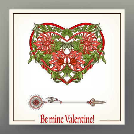 Astratto cuore floreale con motivo in stile medievale. Archivio Fotografico - 87670176