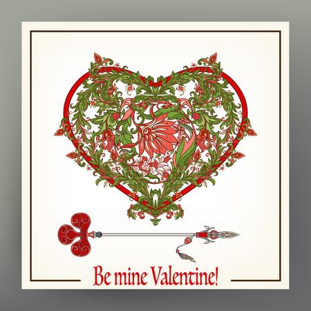 Astratto cuore floreale viola con pattern in stile medievale con la freccia Archivio Fotografico - 87670182