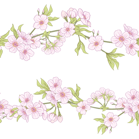 Seamless pattern with Japanese blossom sakura.