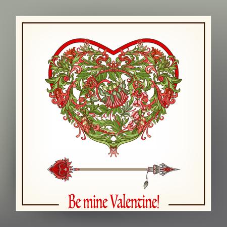 Motif coeur floral amour avec flèche. Banque d'images - 87671974