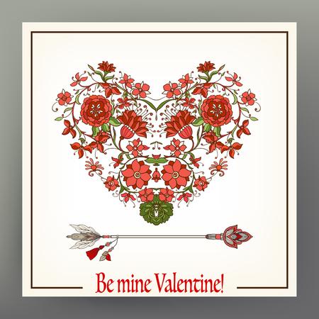 Abstract bloemenliefdehart met patroon in middeleeuwse stijl met pijl. Deze illustratie kan worden gebruikt als een afdruk op T-shirts, tassen, tatoeages, badges of patch. Voorraad regel vector illustratie. Stock Illustratie