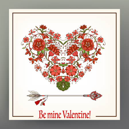 Abstract floral love heart with pattern in medieval style with arrow. This illustration can be used as a print on T-shirts, bags, tattoo, badges or patch. Stock line vector illustration.