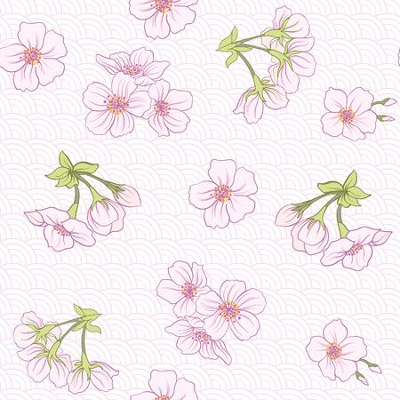 日本の桜とのシームレスなパターン。ベクトル ストック イラスト。