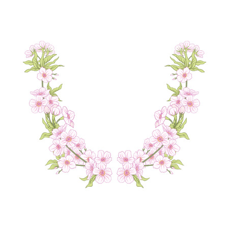 Neck line embroidery designs with a pattern of flowers and branches of Japanese blossom sakura and decorative bird. Stock line vector illustration. Banco de Imagens - 87672008
