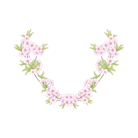 Neck line embroidery designs with a pattern of flowers and branches of Japanese blossom sakura and decorative bird. Stock line vector illustration.
