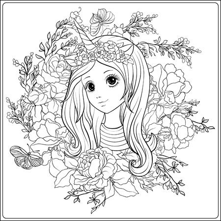 Junges Nettes Mädchen In Der Prinzessinkrone Im Garten Von Rosen ...