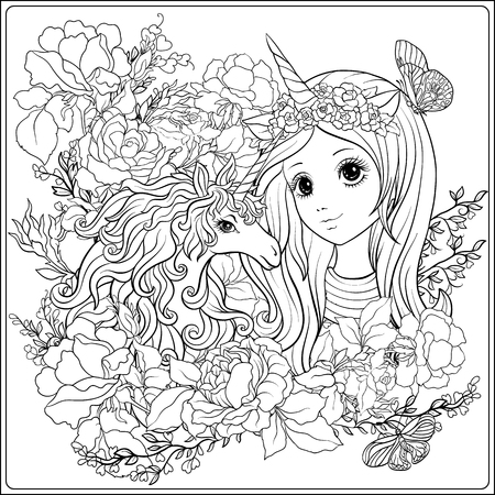 Cute girl and unicorn in roses garden. Outline drawing coloring page. Coloring book for adult. Stock vector.