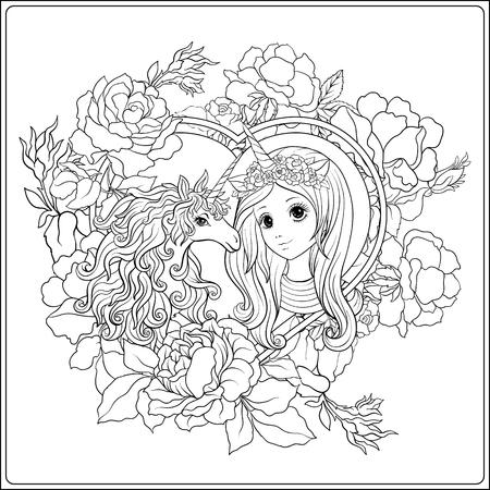 Ładna dziewczyna i jednorożec w ogrodzie róż. Zarys rysunku kolorowanki. Kolorowanka dla dorosłych. Wektor zapasowy.
