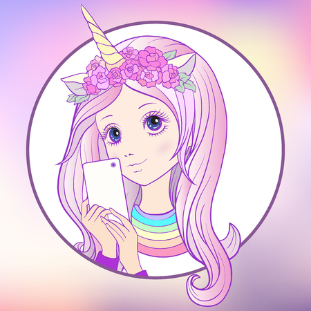 Young nice girl with long multi colored pink hear and unicorn horn and roses on her head make selfie or photograph on a mobile phone. Stock vector. Illustration