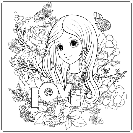Young nice girl with long hear in the garden of roses.  Outline drawing coloring page. Coloring book for adult. Stock vector.