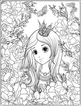 Prinses in de tuin van rozen