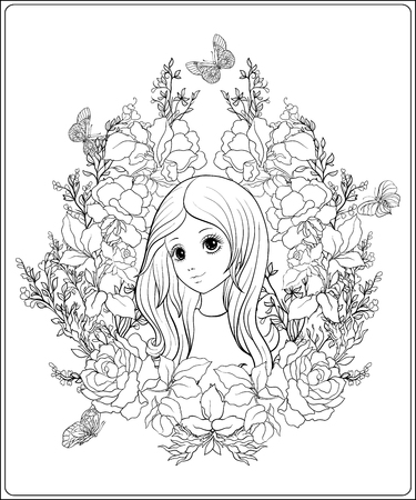 long hair model: Young nice girl with long hear in the garden of roses.  Outline drawing coloring page. Coloring book for adult. Stock vector.