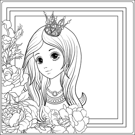 Young Nice Girl In Princess Crown The Garden Of Roses Outline