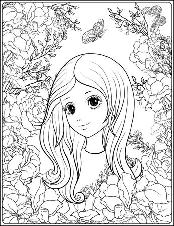 Meisje in de tuin van rozen