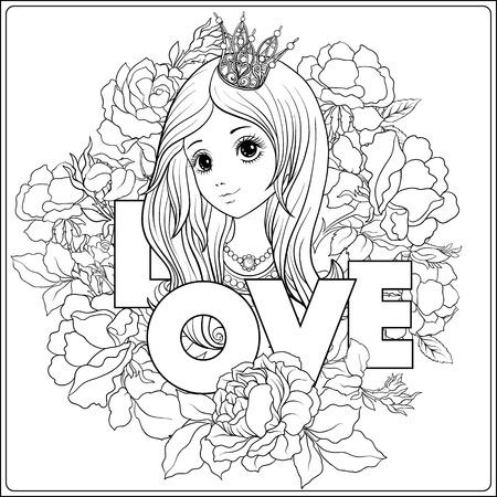 Jong aardig meisje in prinseskroon in de tuin van rozen. Stock Illustratie