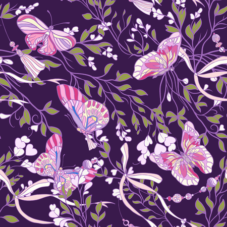 Roses and butterflies. Seamless pattern, background, in purple a