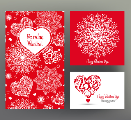 Set of 3 cards or banners for Valentines Day with ornate red lo