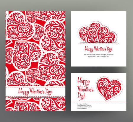 Set di 3 carte o banner per San Valentino con ornato rosso Archivio Fotografico - 87719170