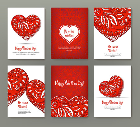 カードやバナー バレンタインの日の華やかな赤い lo 6 のセット