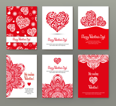 Set of 6 cards or banners for Valentines Day with ornate red lo