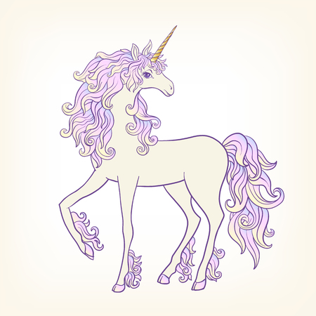 Unicorn with multi-colored curly mane Stock vector.