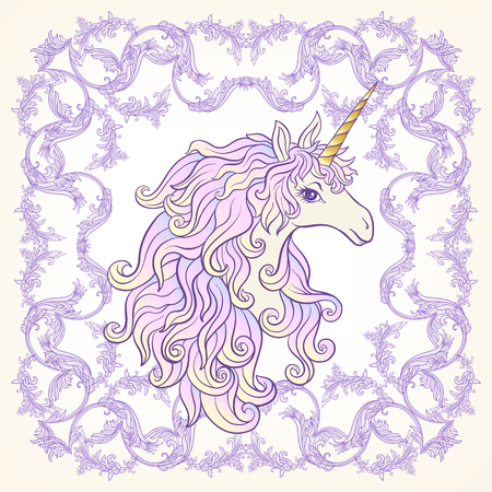 Unicorn in the frame, arabesque in the royal, medieval style