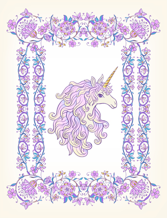 Unicorn in the frame, arabesque in the royal, medieval style in