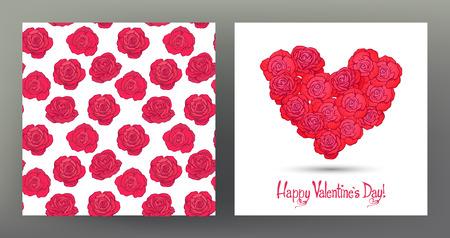 Set van naadloze patronen en wenskaarten voor Valentijnsdag
