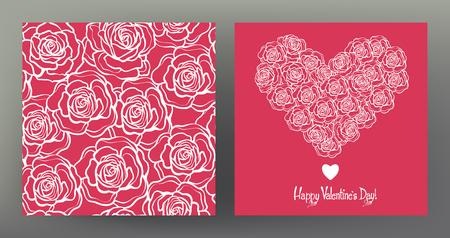 バレンタインデーのためのシームレスなパターンとグリーティング カード セット  イラスト・ベクター素材
