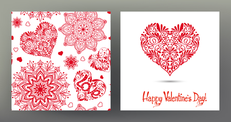 Set of seamless patterns and greeting cards for Valentines Day