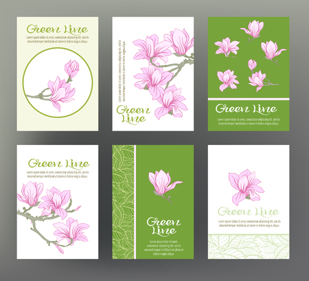 Magnolia. Set of six cards with traditional Japanese flowers. Ilustrace