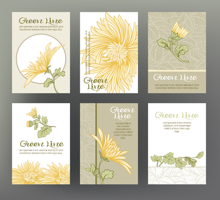 Set of six cards with traditional Japanese flowers.  イラスト・ベクター素材