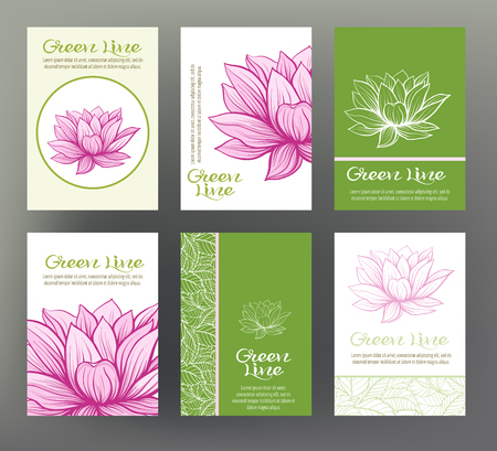 Lotus. Set of six cards with traditional Japanese flowers. For the eco-label design, green product line of herbal ingredients. Stock line vector illustration. Ilustração