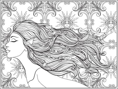 Junges schönes Mädchen Mit Elfenohren und langem Haar und Perlen her Standard-Bild - 87711594