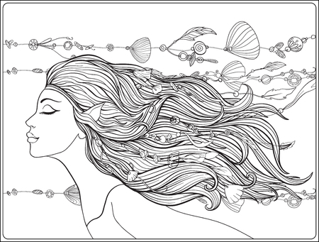 Young beautiful girl With elven ears and long hair and beads from sea shells in the hair. Stock line vector illustration. Outline drawing. Outline hand drawing coloring page for adult coloring book.