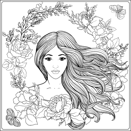 Young beautiful girl with long hair in rich decorated floral pat