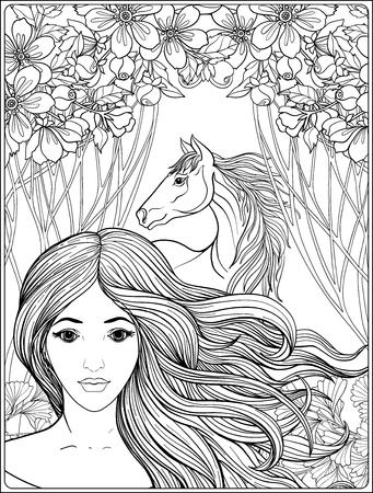 豊かな装飾が施されたフローラル パットで長髪の美しい少女