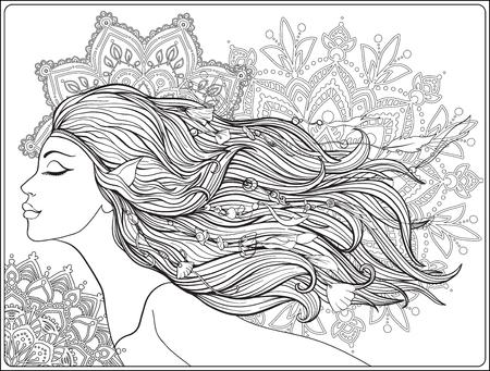 Junges schönes Mädchen Mit Elfenohren und langem Haar und Perlen her Standard-Bild - 87711598