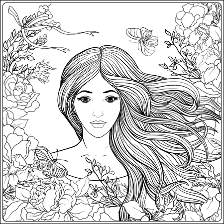 Young Beautiful Girl With Long Hair In Rich Decorated Floral ...