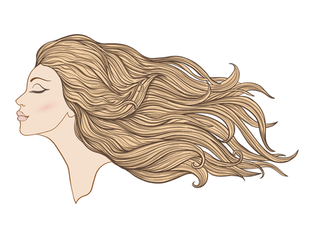 Young beautiful girl with long brown hair in profile. Ilustração